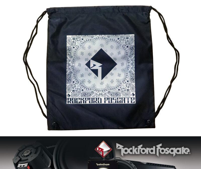 画像1: Black draw string bag w/ Rockford logo (1)